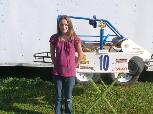 Twelve years old Ashley Wray from LaCrosse had her first win June 23rd in her #10 Lynn Morris powered JR Champ kart at the Brunswick Speedway.