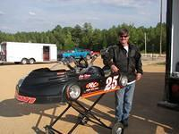 Mike Flash Shearin from Emporia with his 2009 Shearin Automotive Phantom Icon kart races in Clone Sr