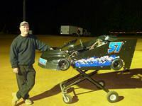 Lenny Turner from Ebony with his new JR Race Motor powered Double Winged kart he enters in Run What Ya Brung and also in the Special Unlimited All Stars Race Quarter Finals May 19
